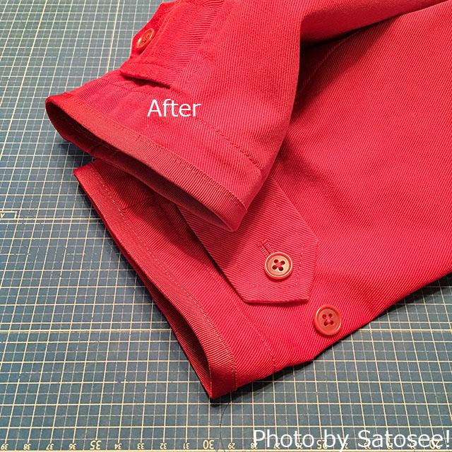 袖口を直した赤いコートの写真