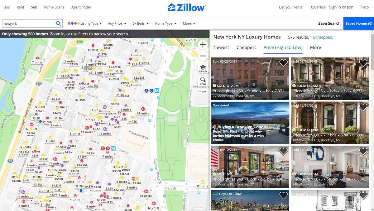 Zillowの物件情報