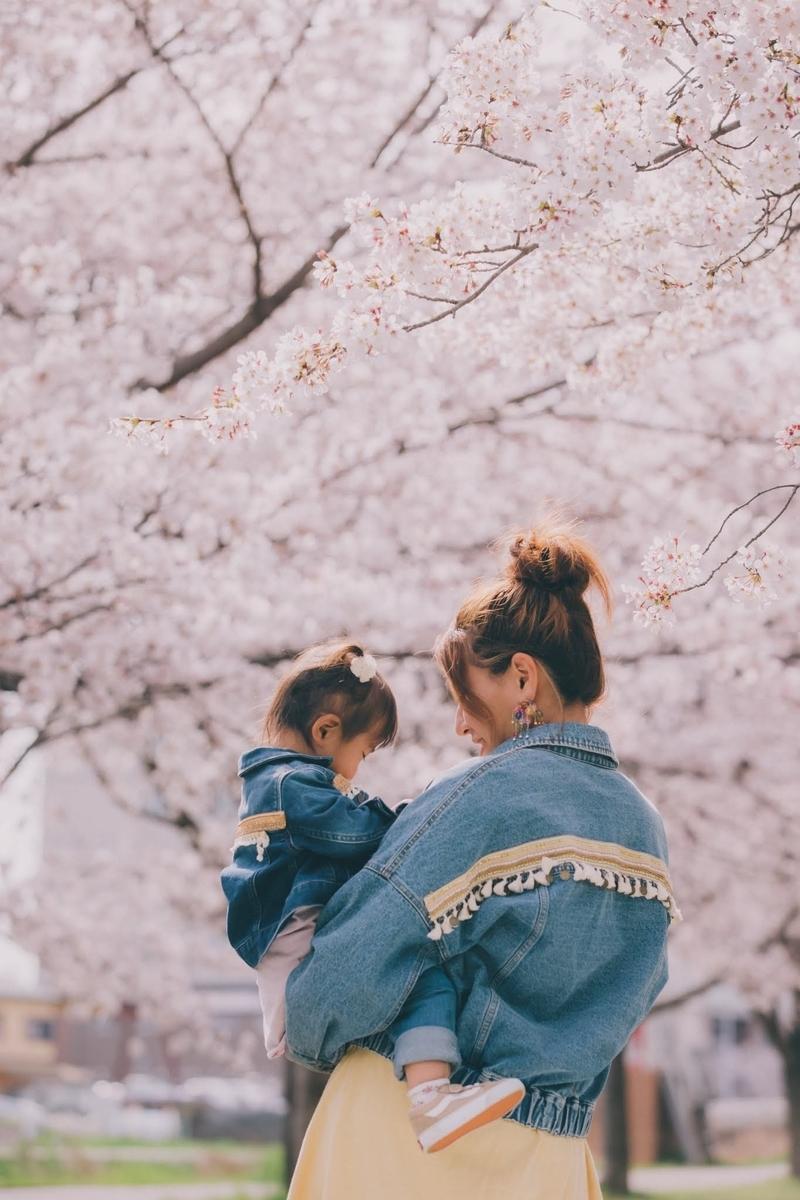桜の下で親子コーデ♡