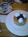 珈琲館紅鹿舎にて、小倉ホットケーキセット。
