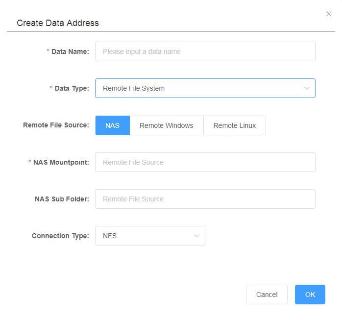 リモートデータアドレスの作成