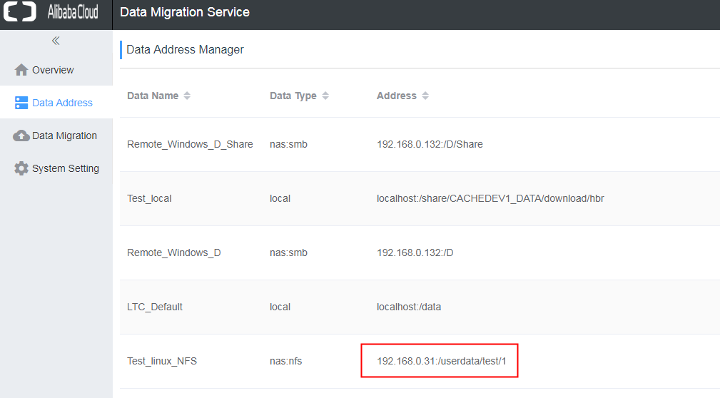 リモートLinuxファイルのデータアドレス作成