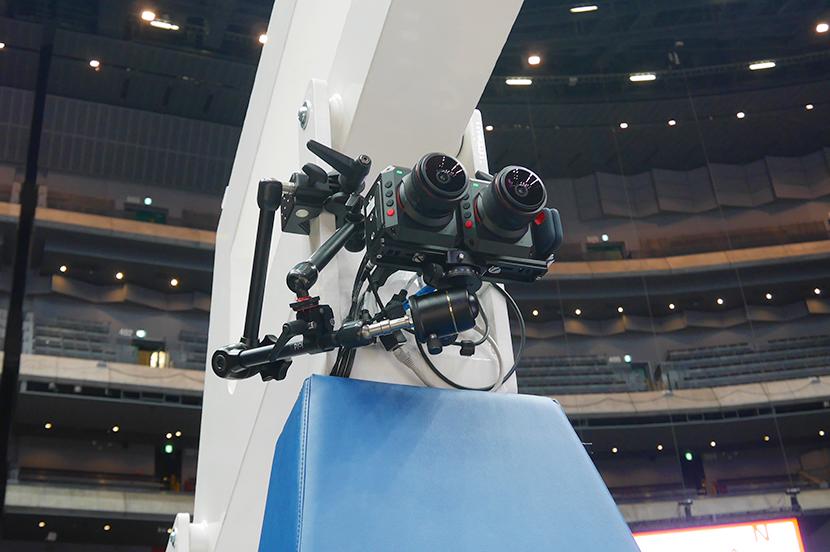 ゴール下に設置されたVRカメラ