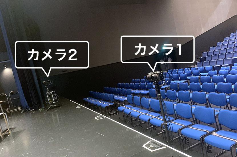 ステージ中央と袖に配置されたVRカメラ