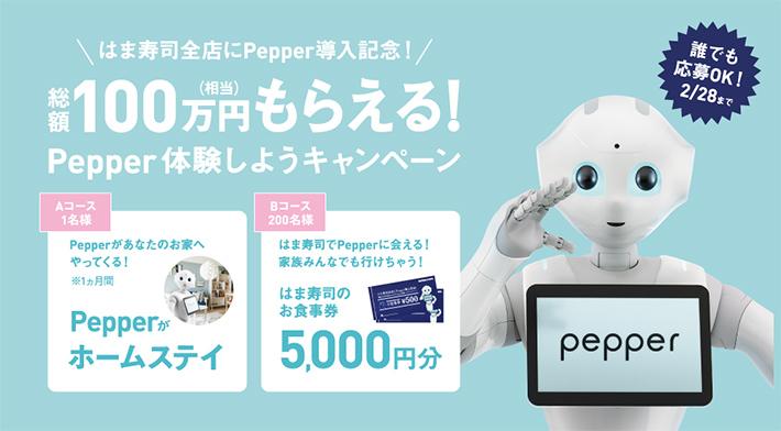 総額100万円相当もらえる! Pepper体験しようキャンペーン