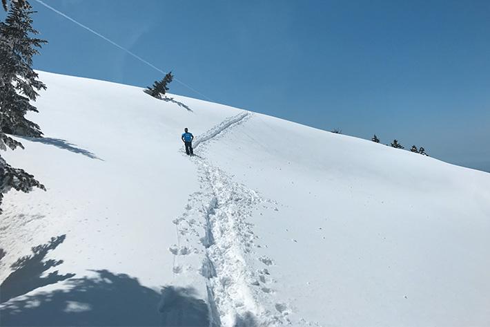 この雪山を登るだけで、心の中では「無事帰れるだろうか?」と一抹の不安が・・・。