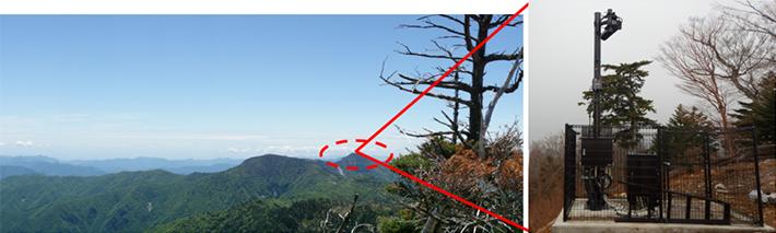 八経ヶ岳山頂から基地局を設置した和佐又山を望む