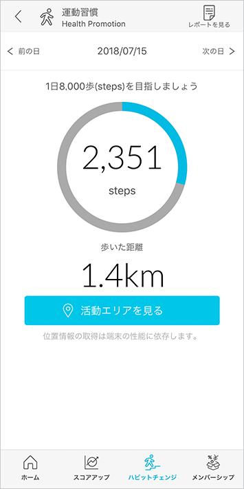 運動習慣では1日の歩数や行動エリアをチェックすることができます