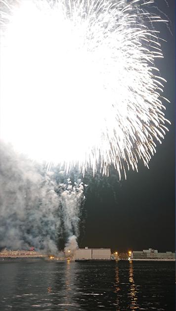 光量が強くて色が飛んでしまう白の花火