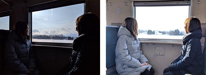 室内や人物が暗い状態/窓の景色が明る過ぎて白飛びした状態