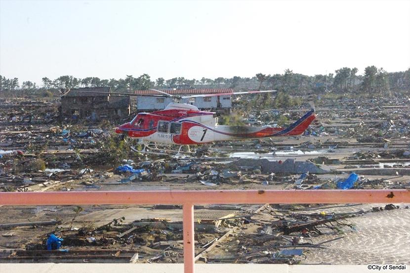 消防ヘリによる救援活動(写真提供:仙台市)