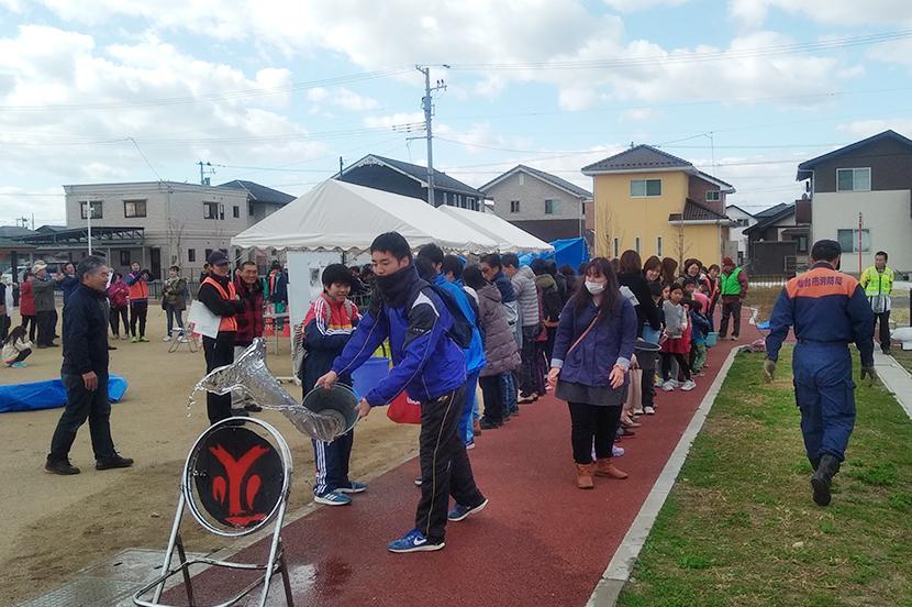 田子西復興公営住宅における防災訓練(写真提供:仙台市)