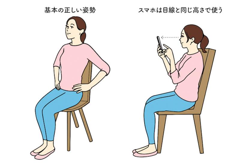 スマホやパソコンを使うときの正しい姿勢、NGな姿勢 | あなたは「スマホ首・ストレートネック」になってない? 専門家が教える正しい姿勢&解消ストレッチ方法