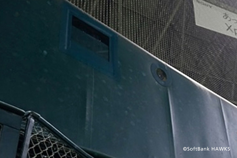 PayPayドーム「バックネット裏」に設置したカメラ