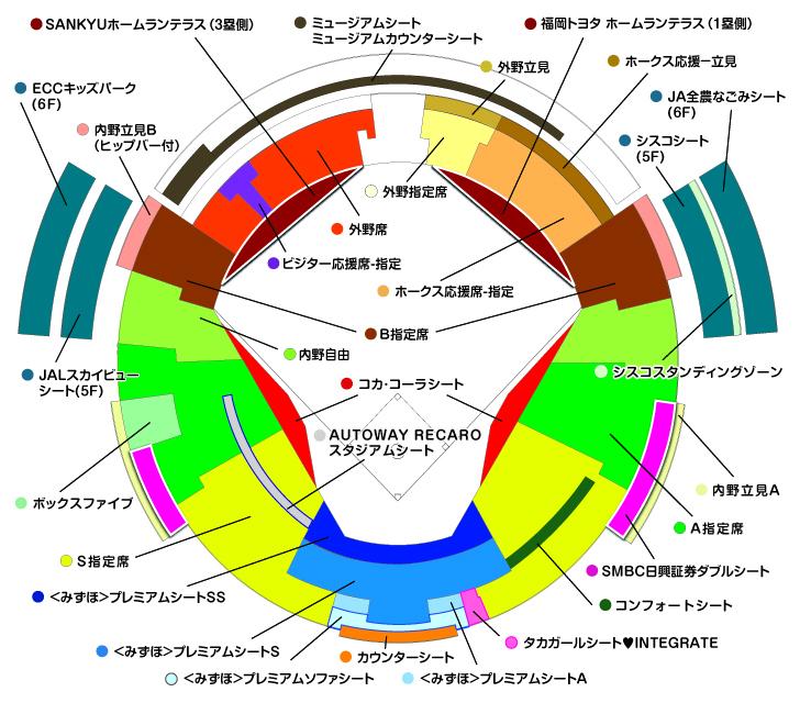 福岡 ヤフオク!ドームの座席表
