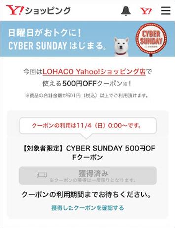 日曜日にお買い物をすると、ご注文手続きの「ご注文内容詳細」画面でクーポンが自動付与されます。