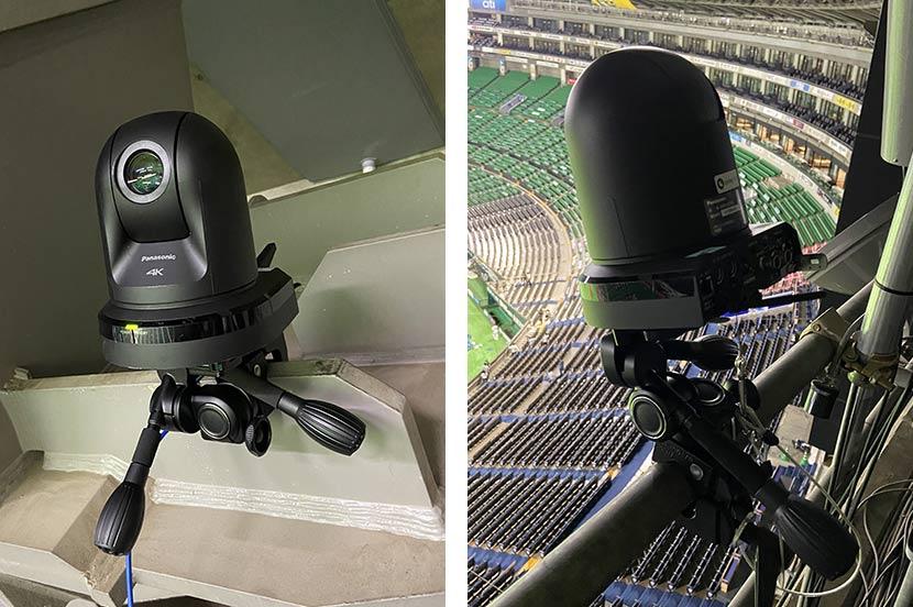 一塁側とバックネット裏に設置された映像解析用のカメラ