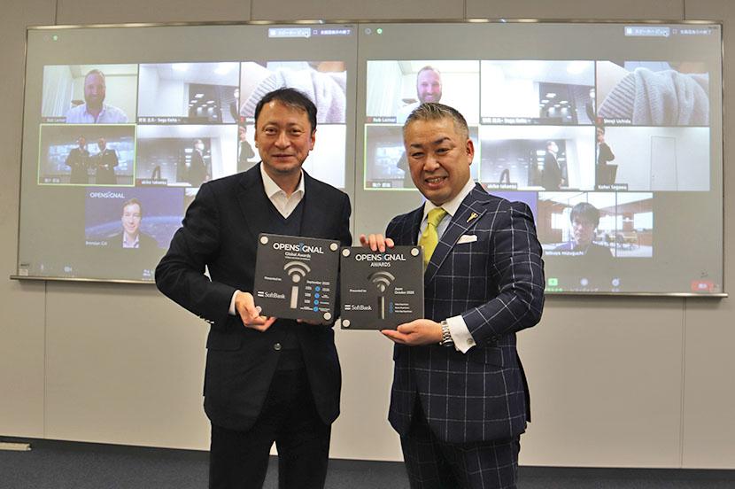 ソフトバンクの宮川潤一副社長(左)、Opensignal日本カントリーマネージャー内田真二 氏(右)