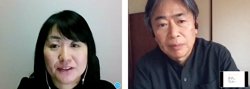 文部科学省の深草特別支援調査官(左)魔法のプロジェクトプロデューサーで東京大学先端科学技術研究センターの中邑教授(右)