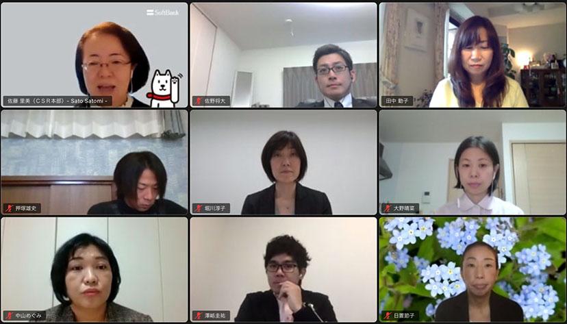 魔法のプロジェクトディレクターの佐藤(左上)と事例発表に登壇する先生たち