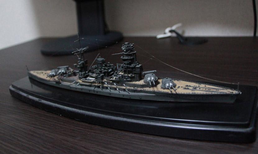"""戦艦「金剛」のプラモデル。2021年元旦完成に向け、""""逆線表""""を引いています"""