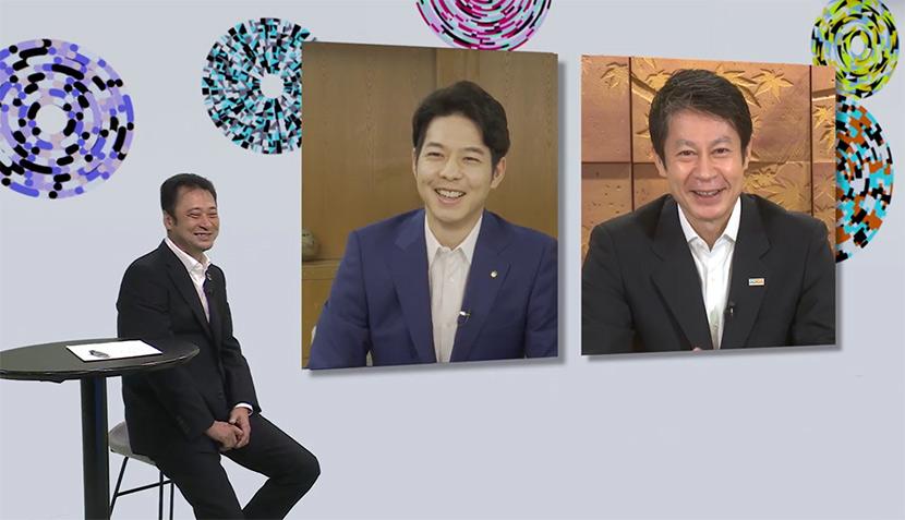 宮川とオンラインで対談した、北海道知事 鈴木直道氏(左)と広島県知事 湯﨑英彦氏(右)