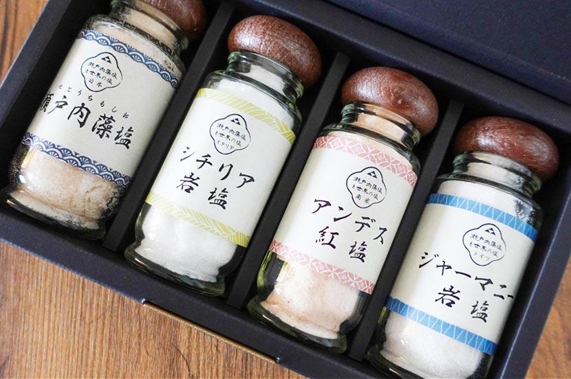 し(塩):瀬戸内藻塩と世界の塩セット 4種 詰合せ 3,618円
