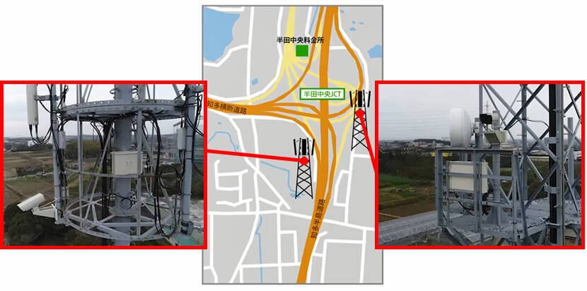 4K cameras and 5G terminals installed on steel towers near a Chita Peninsula highway interchange | Making Highways Smart with 5G Technology