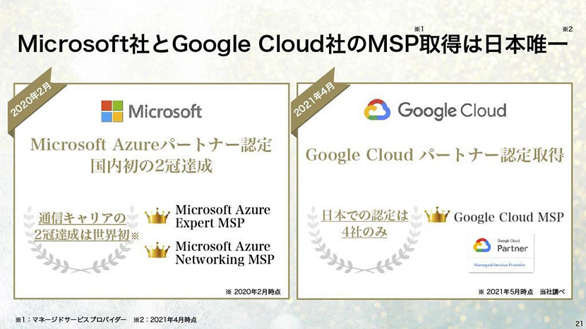 Microsoft社とGoogle Cloud社のMSP取得は日本唯一