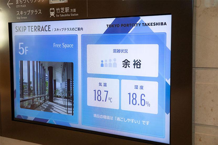 "Digital signage utilizes SoftBank's ""Smart City Platform"" in the Takeshiba District"