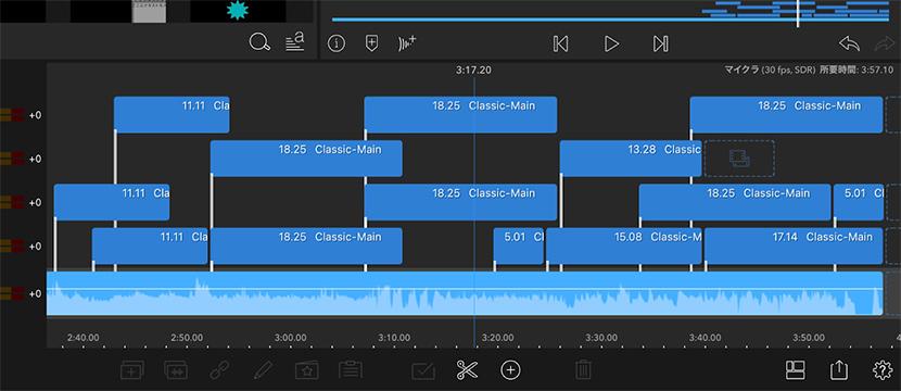 編集アプリの一例:動画の編集・カットに欠かせないタイムライン。動画を示す軸、テロップや音楽を示す軸などに分かれ、それらを組み合わせてひとつの動画に編集していく