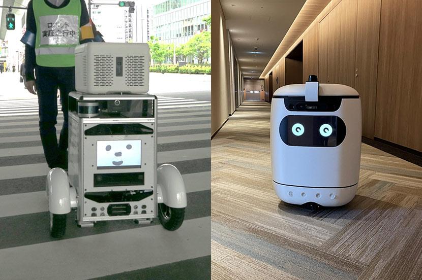 信号と連動して道路を横断。エレベーターで別フロアに配達。竹芝で進む配送ロボット実証実験