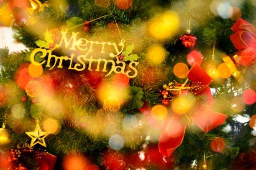 Merry Christmasと書かれた札のついているクリスマスツリーのアップの画像