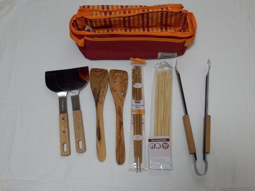 ヘラ、木製ターナー、菜箸、竹串、トング、クッキングツールボックス