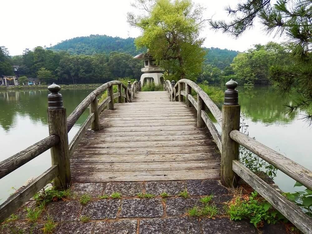 グリーンパーク山東の三島池の石とうろうに渡る橋