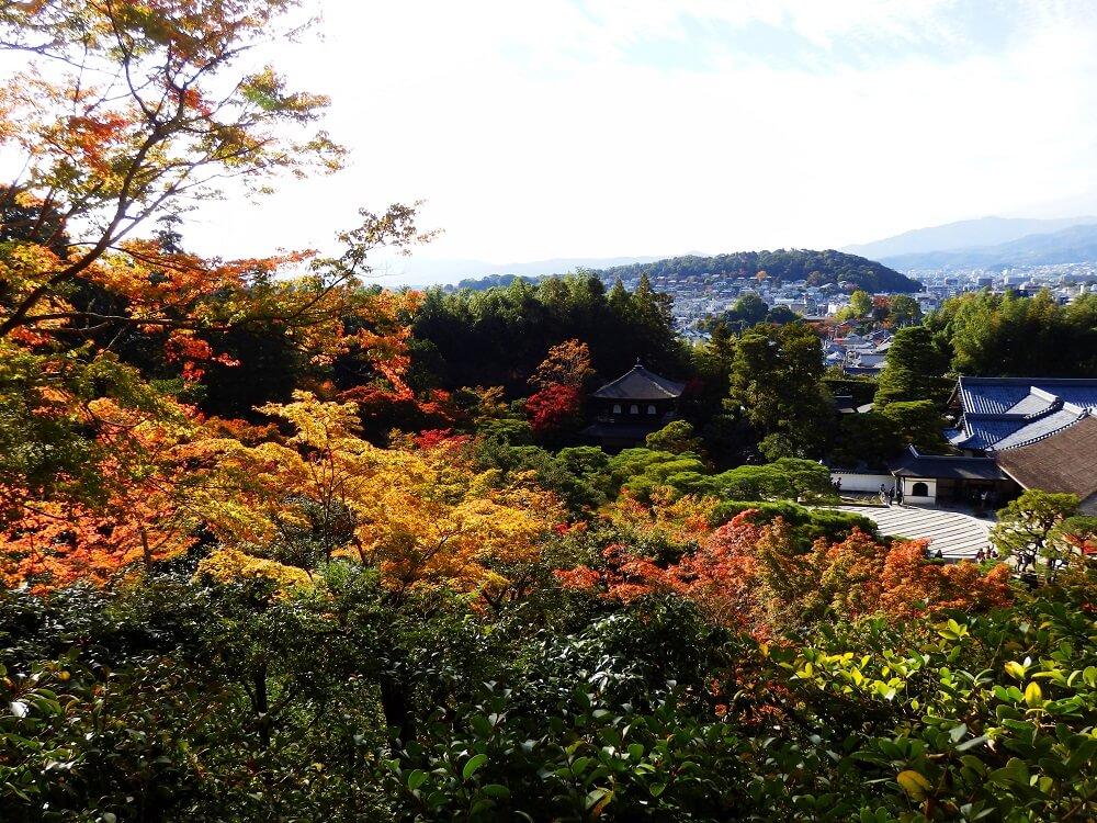 展望所からの銀閣(観音殿)と京都の街