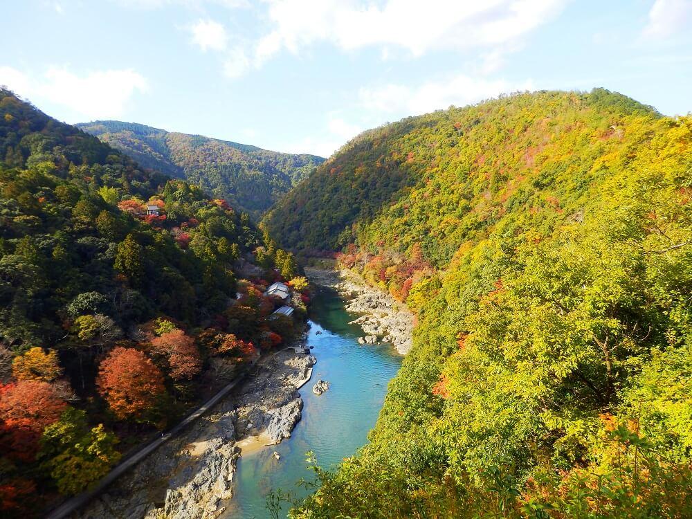嵐山公園亀山地区展望台からの保津川(桂川)の情景