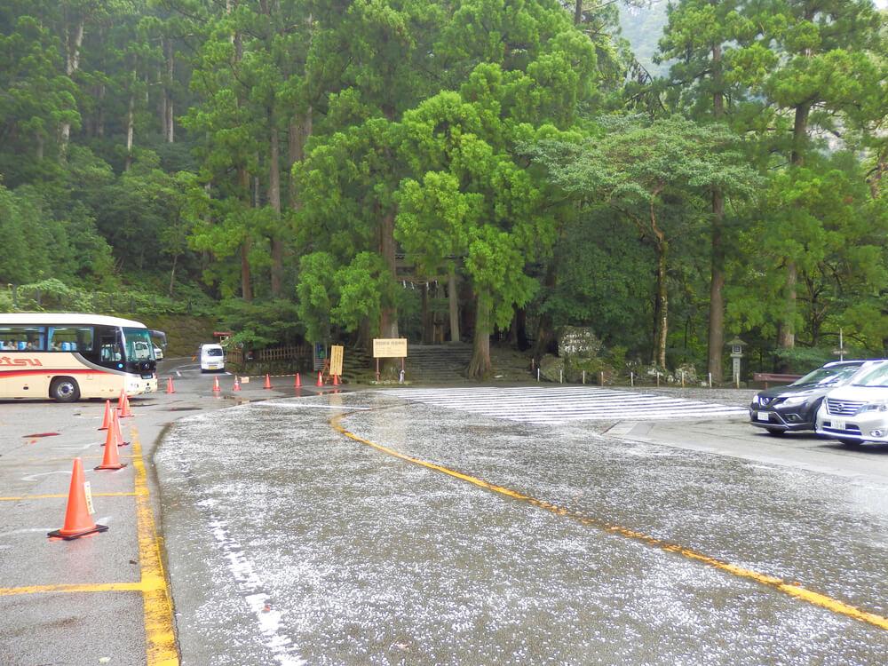 那智の滝の入口前の駐車場