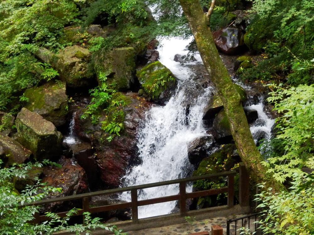 岐阜県の養老の滝への遊歩道から見える滝の下流の水流