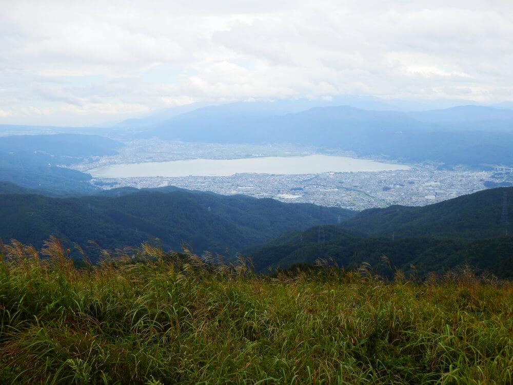 高ボッチ高原からの諏訪市と諏訪湖の眺望