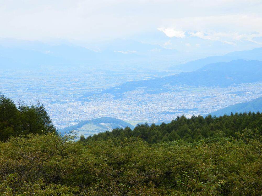 高ボッチ山頂からの塩尻市の眺望