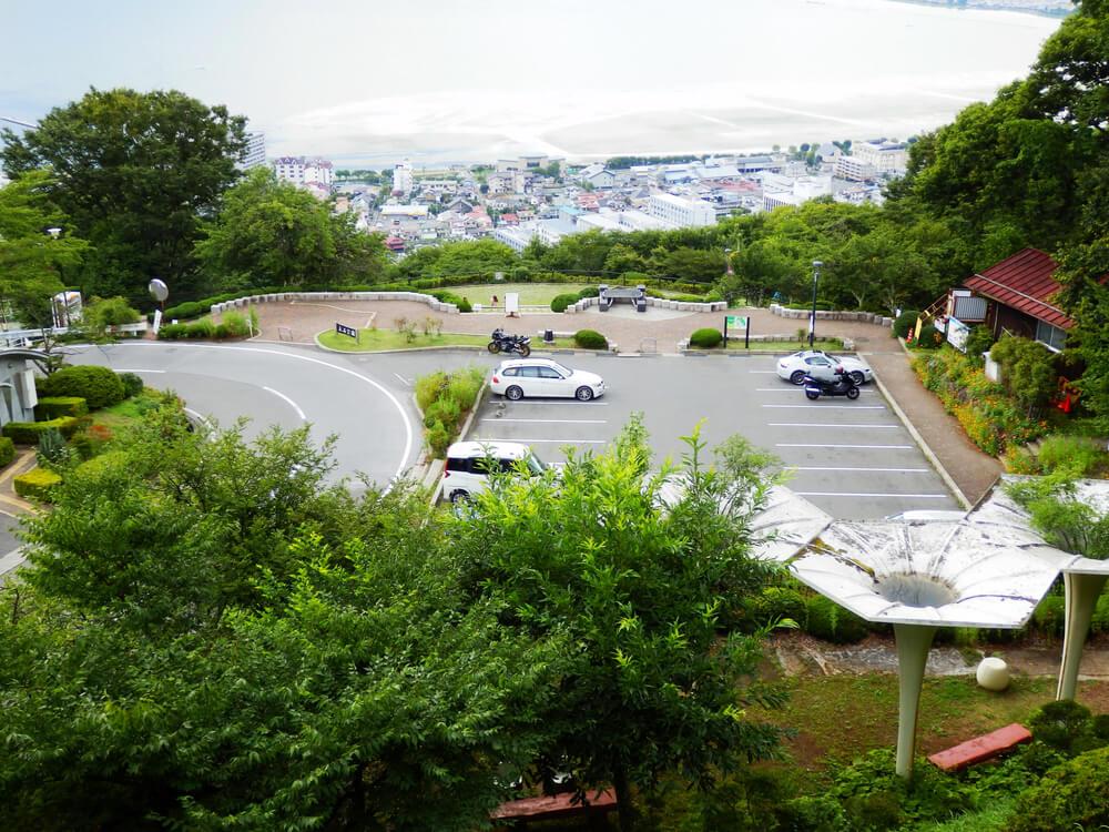 長野県の立石公園の駐車場