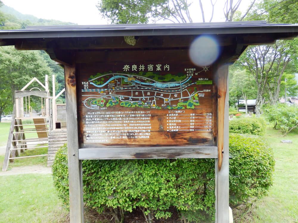 長野県塩尻市の奈良井宿の案内板