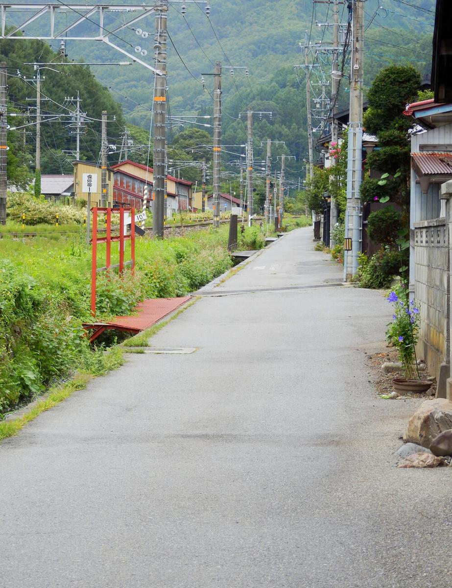 長野県塩尻市の奈良井宿の線路西側の路地