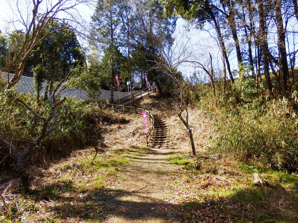 月ヶ瀬梅渓の遊歩道の突き当りの階段