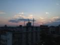 夕焼け。でも明け方に雷雨…