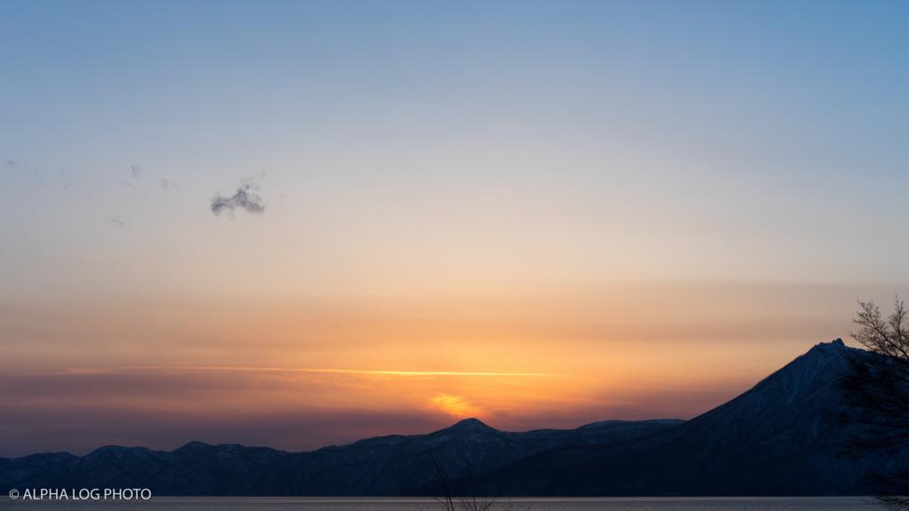 夕陽と恵庭岳