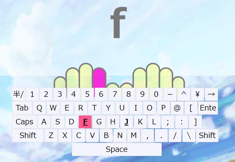 キーボードと対応する指が表示されている