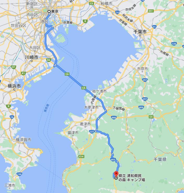 東京~清和県民の森 ルートマップ