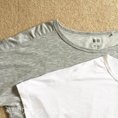 ユニクロスポーツのエアリズムクルーネックTシャツメッシュ部分の肩口アップ